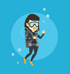 woman diving with scuba and showing ok sign vector image