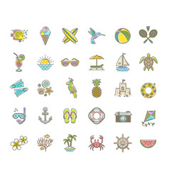 Line drawing icons - summer vacation and holidays vector