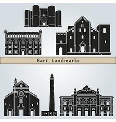 Bari landmarks and monuments vector