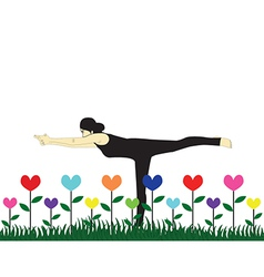 Yoga in garden vector