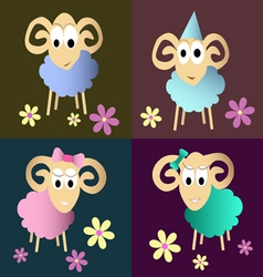 Funny sheeps cartoon collection vector