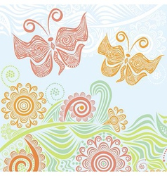 Butterflies and beautiful nature pattern backgroun vector image