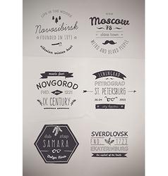 6 hand drawn style logos vector
