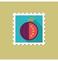 Watermelon flat stamp with long shadow vector