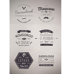6 hand drawn style logos vector
