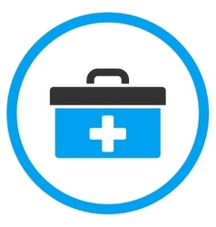 First aid toolbox rounded icon vector