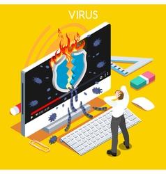Computer virus isometric people vector