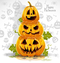 Happy halloween banner with terrible pumpkins vector