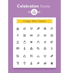 Line celebration and party tiny icon set vector