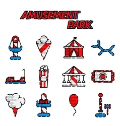 Amusement park flat icon set vector