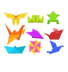 animals origami set geometric paper animals and vector image
