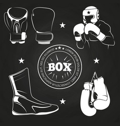 boxing athlet and sport on chalkboard vector image vector image