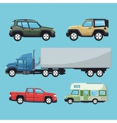 Cars and truck vehicle and transportation design vector