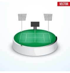 Concept of miniature round tabletop Tennis court vector image