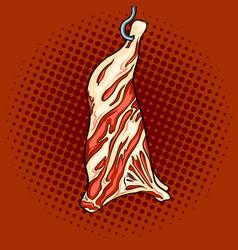 cow beef on hook pop art vector image vector image