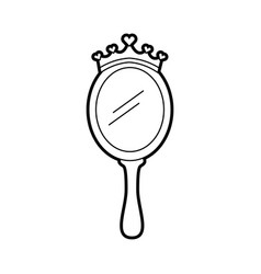 Crown princes magical mirror with hearts vector