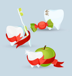 dental care set of images on vector image vector image