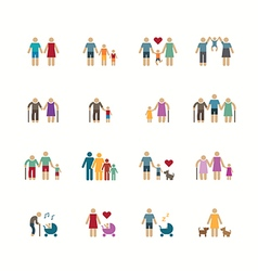 Family silhouette icons flat design set vector
