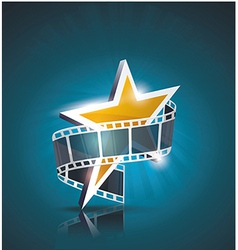 Film strip roll with gold star cinema background vector image vector image