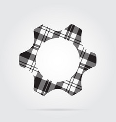grayscale tartan isolated icon - cogwheel vector image vector image