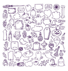 halloween hand drawn elements vector image vector image