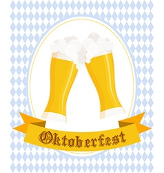 Hand drawn oktoberfest poster with two flat beer vector