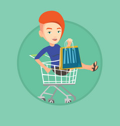 Happy woman riding by shopping trolley vector