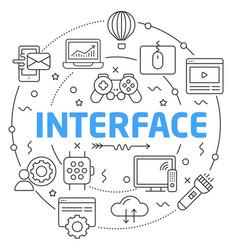 line flat circle interface vector image vector image