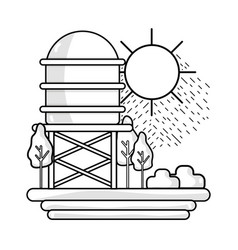 Line water tank with trees and sun vector