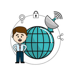 Man with global data information and wifi security vector