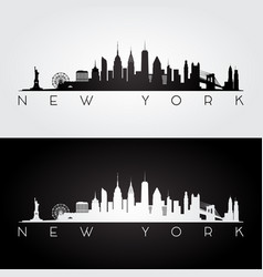 new york usa skyline and landmarks silhouette vector image vector image