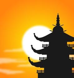 Pagoda silhouette at dusk vector