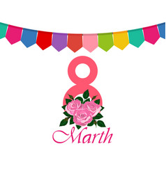 postcard greetings from the women s day march 8 vector image vector image