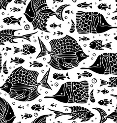 Seamless fish silhouettes pattern vector