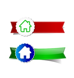 Set of home tag banner ribbon element vector