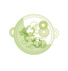 Silhouette delicious bowl of fresh vegetable soup vector