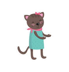 Smiling brown cat wearing dress pink handkerchief vector