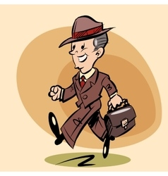 Smiling retro businessman goes to work vector image