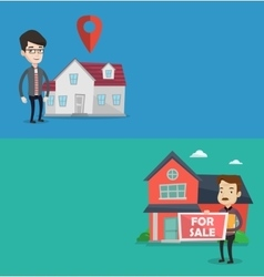 Two real estate banners with space for text vector image vector image