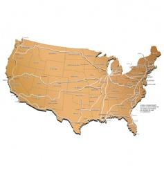 usa railway map vector image vector image
