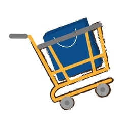Yellow shopping cart online papper bag gift sketch vector