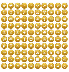 100 diving icons set gold vector