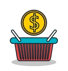 basket shopping with money icon vector image