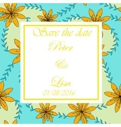 Wedding invitation flowers background vector image