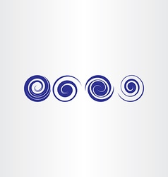 Blue spiral water waves icon set vector