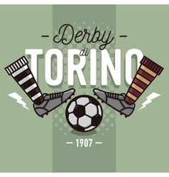 Torino derby in italian label design soccer boots vector