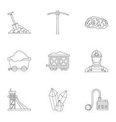 Coal mining icons set outline style vector