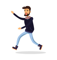 Young man running somewhere isolated on white vector