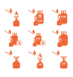 Set of camping stove and gas bottle icons vector