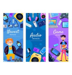 Geek devices vertical banners vector
